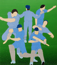 The National Game by Hemavathy Guha, Painting, Oil & Acrylic on Canvas, Green color