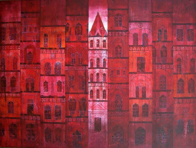 Red City - 737 by Suresh Gulage, , , Brown color