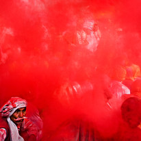 Holi in Barsana, UP. by Asis Kumar Sanyal, Photography, Digital Print on Paper, Red color