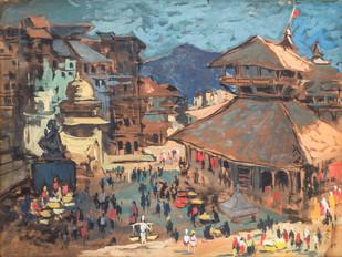 Darbar Chowk, Kathmandu - Painting by Sachida Nagdev