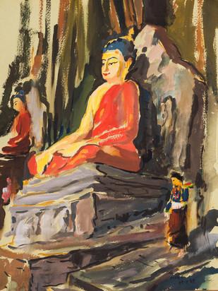 Buddha, Kathmandu - Painting by Sachida Nagdev