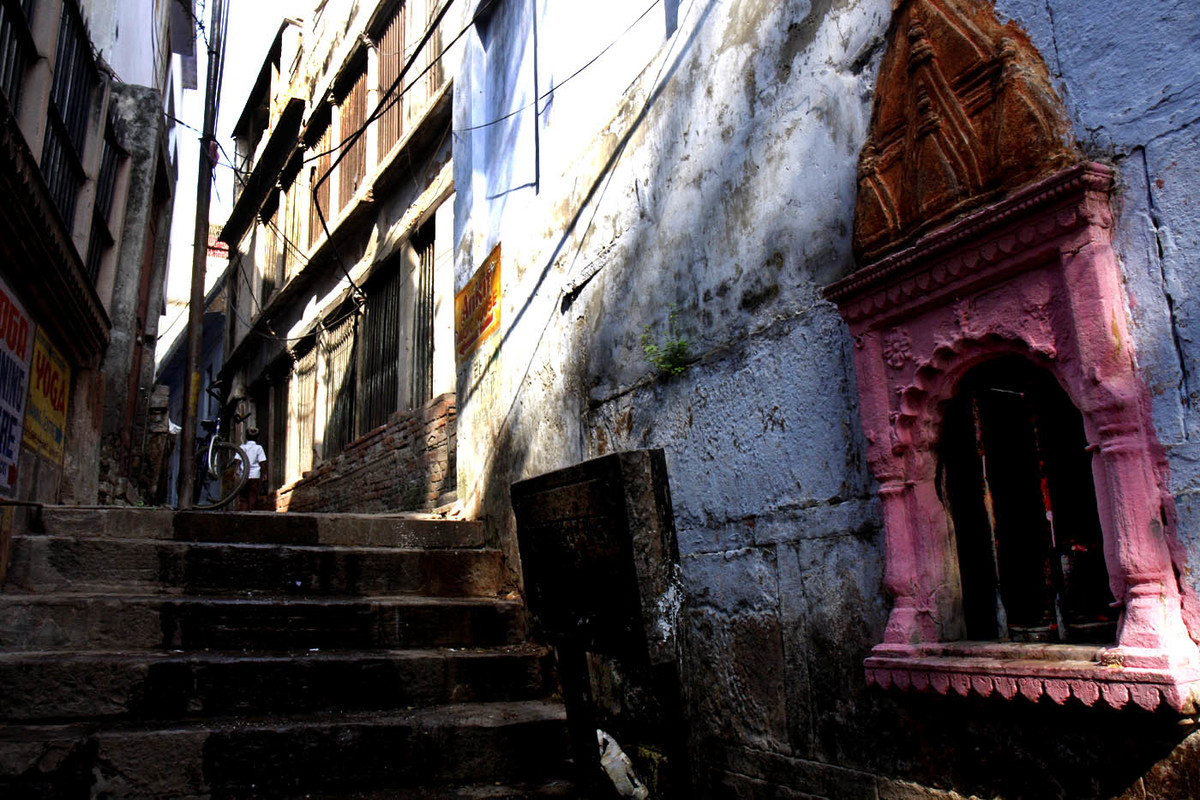Lanes of Varanasi Seen from Within by Ashok Nath Dey, Image Photography, Digital Print on Canvas, Blue color