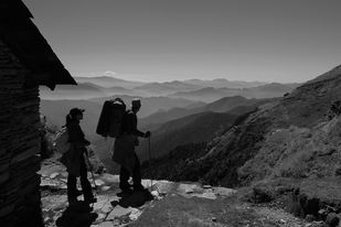 Himalayan Trekkers by Prabir Mitra, Image Photography, Digital Print on Paper, Gray color