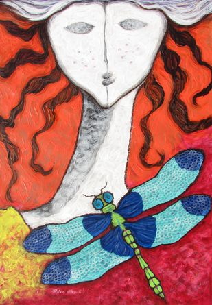 A Girl and a Dragonfly  - Painting by Shivayogi  Mogali