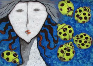 A Girl and Ladybugs 2 by Shivayogi Mogali, Expressionism Painting, Acrylic on Paper, Blue color