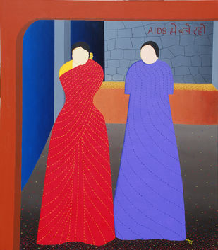 Aids by Hemavathy Guha, Conceptual Painting, Oil & Acrylic on Canvas, Blue color