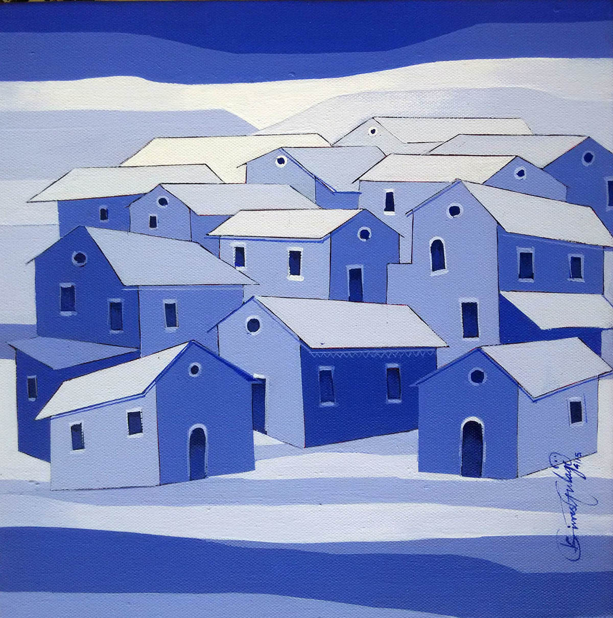Village - 736 by Suresh Gulage, Decorative Painting, Acrylic on Canvas, Blue color