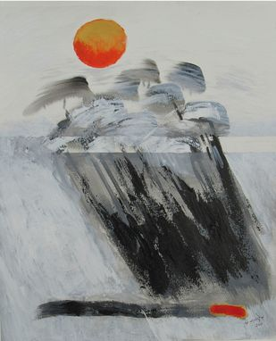 Vayu (The Wind) by Sachida Nagdev, Abstract Painting, Acrylic on Paper, Gray color