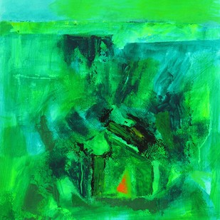 The Green Pastures by Sachida Nagdev, Abstract Painting, Acrylic on Paper, Green color