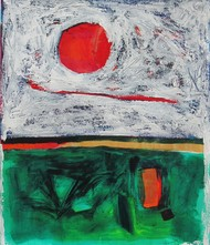 Horizon by Sachida Nagdev, Abstract Painting, Acrylic on Paper, Gray color