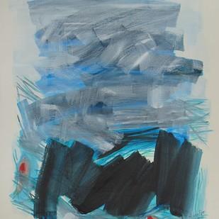 Tsunami by Sachida Nagdev, Abstract Painting, Acrylic on Paper, Green color
