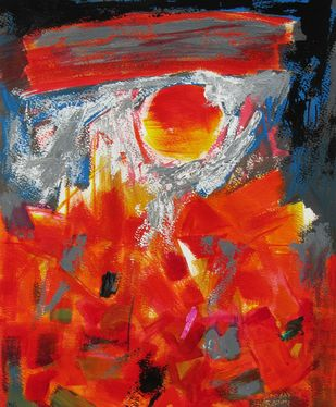 Agni (Fire) by Sachida Nagdev, Abstract Painting, Acrylic on Paper, Red color