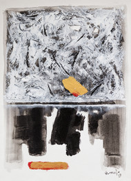 Diabolique by Sachida Nagdev, Abstract Painting, Acrylic on Paper, Gray color