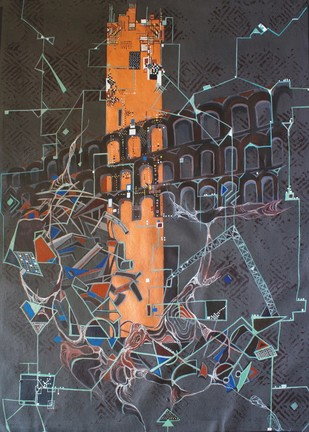 Elevated within Lost Foundations - Painting by Sareena K