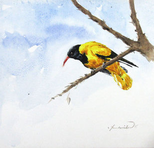Yellow Bird by Asim Paul, Impressionism Painting, Watercolor on Board, Gray color