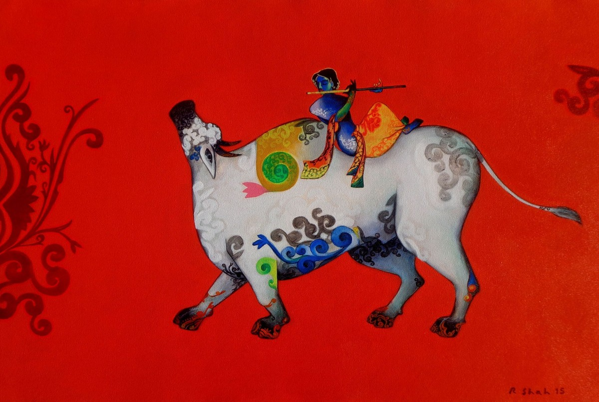 God's Melody by Rajesh Shah, Decorative Painting, Acrylic on Canvas, Red color