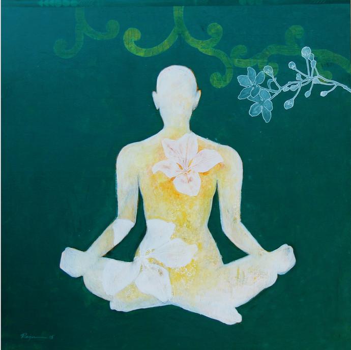 Meditation 41 by Raju Sarkar, Conceptual Painting, Acrylic on Canvas, Green color