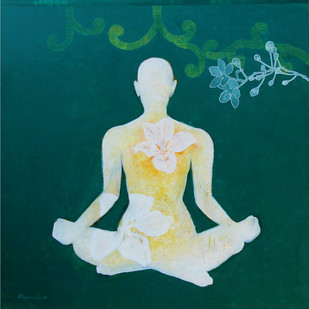 Meditation 41 by Raju Sarkar, Conceptual Painting, Acrylic on Canvas, Green color