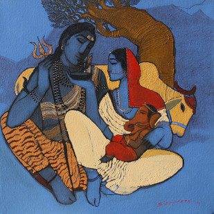 Shiv Parvati II - Painting by Siddharth Shingade