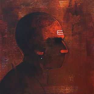 Young Sadhu by Amol Pawar, Decorative Painting, Acrylic on Canvas, Brown color