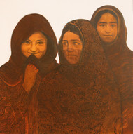 Three Girls - Painting by Siddharth Shingade