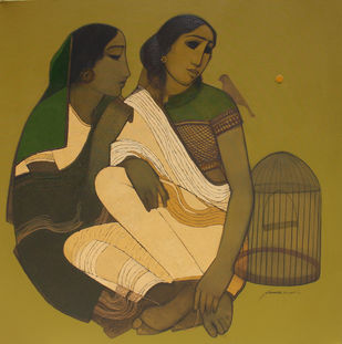 With Cage by Siddharth Shingade, Conceptual Painting, Acrylic & Ink on Canvas, Brown color
