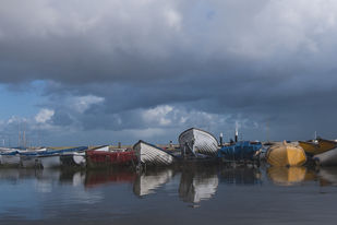Fishing boats by Prabir Mitra, Image Photograph, Digital Print on Paper, Blue color