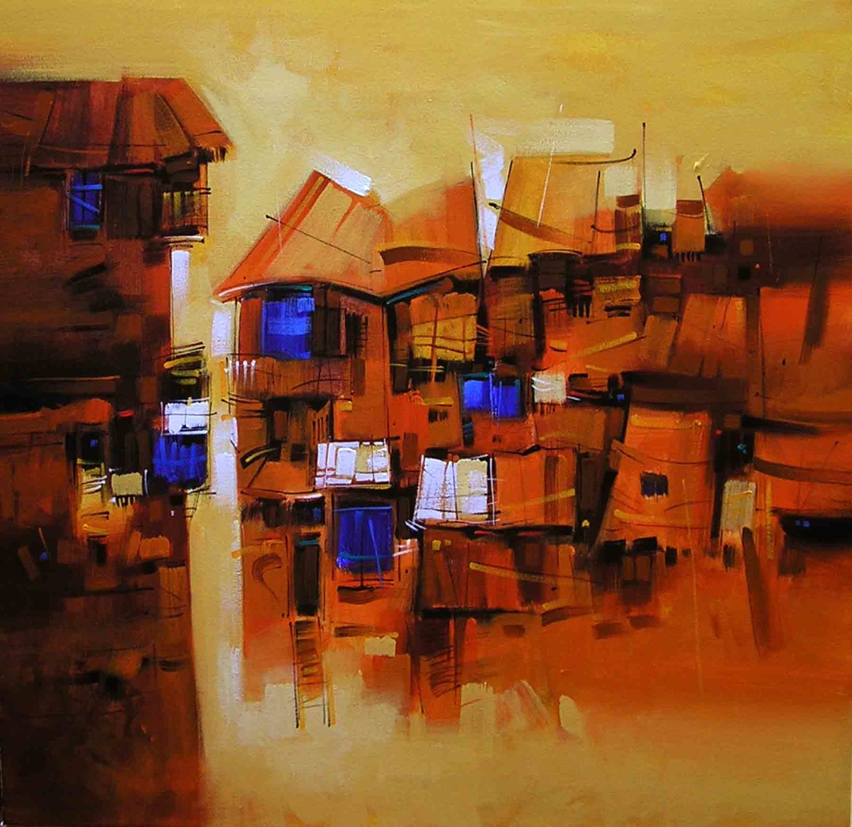 Yellow city by Arvind Kolapkar, Expressionism Painting, Acrylic on Canvas, Brown color
