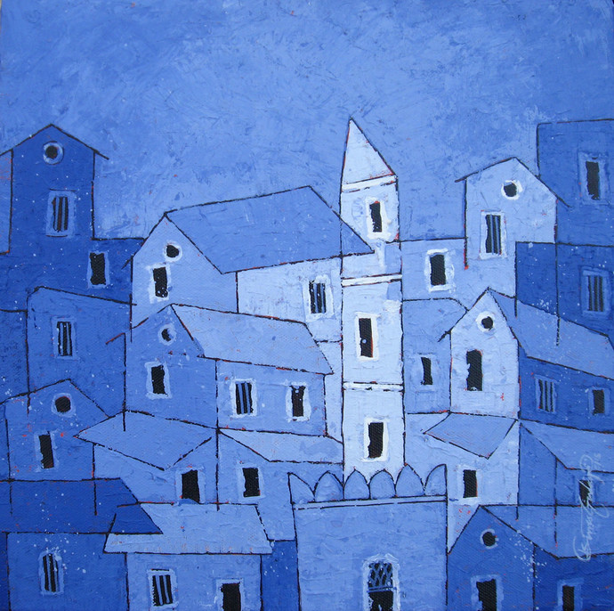 Blue Village - 741 by Suresh Gulage, Art Deco Painting, Acrylic on Canvas, Blue color