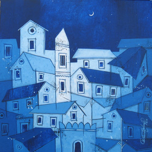 Blue Village- 744 by Suresh Gulage, Decorative Painting, Acrylic on Canvas, Blue color
