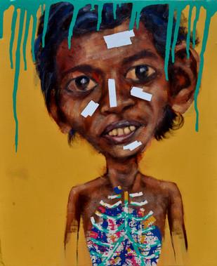 Title my friend anand.size 76x90cm.medium acrylic.year 2014.name throngkiuba yimchungru.