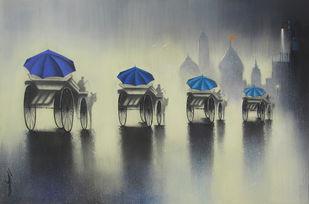 Rhythmic Monsoon Ride by Somnath Bothe, , , Gray color