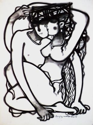 Couple by Sanjay Ashtaputre, Illustration Drawing, Charcoal on Paper, Gray color