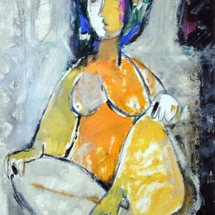 Woman by Sanjay Ashtaputre, Decorative Painting, Acrylic on Paper, Beige color