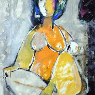 Woman by Sanjay Ashtaputre, Decorative Painting, Acrylic on Paper, Beige color