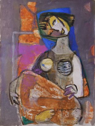 Woman II by Sanjay Ashtaputre, Decorative Painting, Acrylic on Paper, Brown color