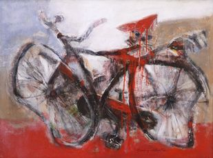 Cycle in Riots by Sanjay Ashtaputre, Impressionism Painting, Acrylic on Canvas, Brown color