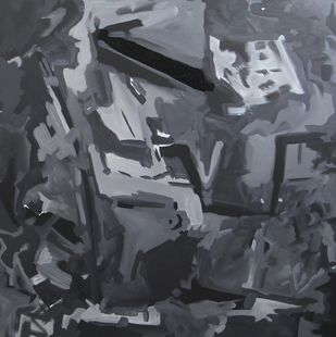 Untitled 2 by Abheeshek Salunke, Abstract Painting, Acrylic on Canvas, Gray color