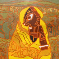Bhagoryia Series 1 by Anup Shrivastava, Cubism Painting, Acrylic on Canvas, Brown color