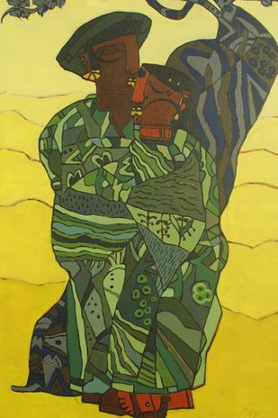 Bhagoryia Series 3 by Anup Shrivastava, Cubism Painting, Acrylic on Canvas, Green color