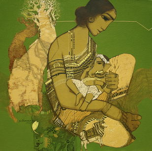 Parvati by Siddharth Shingade, Painting, Acrylic on Canvas, Green color