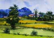Konkan Series by Sunil Bambal, Impressionism Painting, Watercolor on Paper, Green color