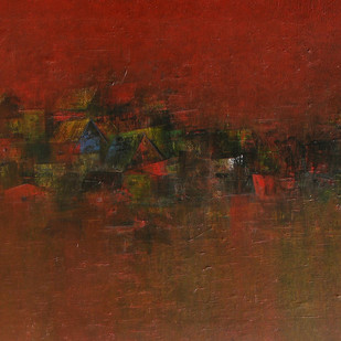 Distant View of a Village 32 by M Singh, Impressionism Painting, Acrylic on Canvas, Brown color