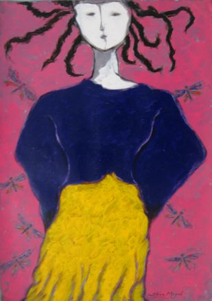 A girl with Damselflies by Shivayogi Mogali, Expressionism Painting, Acrylic on Paper, Purple color