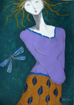 Shiva mogali  girl iv  acrylic on paper  13.5 x 19.5 in