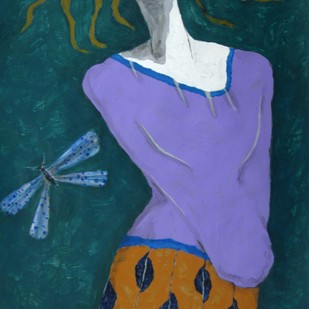 A Girl and Damselfly Digital Print by Shivayogi Mogali,Expressionism