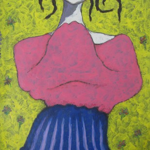Girl in Graden Digital Print by Shivayogi Mogali,Expressionism