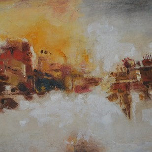 Abstract - 4 by Atul Virkar, Abstract Painting, Oil & Acrylic on Canvas, Beige color