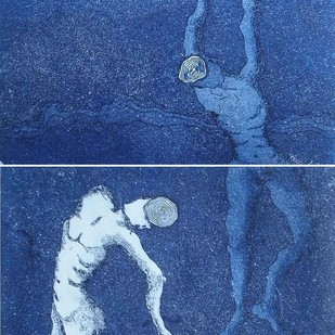 Hopes by Monica Ghule, Surrealism Printmaking, Etching on Paper, Blue color