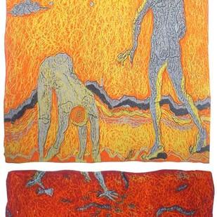Hopes I by Monica Ghule, Surrealism Printmaking, Linocut Print on Paper, Beige color